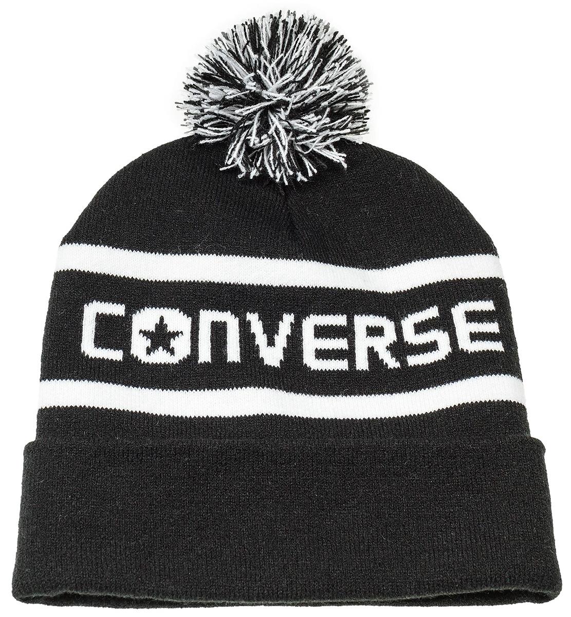 Шапка Converse Wordmark Pom Knit, цвет: черный. 562261. Размер универсальный562261Шапка Converse изготовленная из 100% акрила мягкая, комфортная и теплая. Практичная форма шапки делает ее очень комфортной. Качественная пряжа не линяет и не растягивается. Модель дополнена отворотом и помпоном.. Шапка Converse прекрасно дополнит ваш наряд и не позволит вам замерзнуть в прохладное время года.