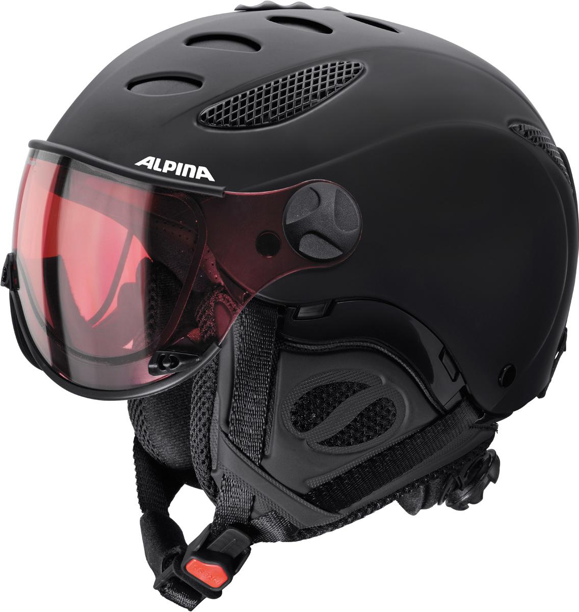 Шлем горнолыжный Alpina JUMP JV QVHM black matt. Размер 55-57A9037_42Шлем JUMP JV является эталоном в области качественных альпийских шлемов. Встроенный визор обладает превосходным полем зрения и аэродинамикой, а технология VarioFlex обеспечивает видимость в любых погодных условиях. Визор имеет мягкую подкладку и оставляет внутри достаточно места для ношения корректирующих очков.• В визоре использована фотохромная линза Alpina VarioFlex, которая меняет своё затемнение в зависимости от интенсивности солнечного освещения. Чем меньше света, тем прозрачнее визор• Шлем имеет максимально надёжную и долговечную Hardshell конструкцию - предварительно отлитая оболочка из ударопрочного пластика ABS прочно соединена с внутренней оболочкой из вспененного полистирола• Интенсивность воздушного потока можно регулировать. Вентиляционные отверстия шлема могут быть открыты и закрыты раздвижным механизмом• Съемные ушки-амбушюры можно снять за секунду и сложить в карман лыжной куртки. Если вы наслаждаетесь катанием в начале апреля, такая возможность должна вас порадовать. А когда температура снова упадет - щелк и вкладыш снова на месте!• Из задней части шлема можно достать шейный утеплитель из мякого микро-флиса. Этот теплый воротник также защищает шею от ударов на высокой скорости и при сибирских морозах. В удобной конструкции отсутствуют точки давления на шею.• Внутренная оболочка каждого шлема Alpina состоит из гранул HI-EPS (сильно вспененного полистирола). Микроскопические воздушные карманы эффективно поглощают ударную нагрузку и обеспечивают высокую теплоизоляцию. Эта технология позволяет достичь минимальной толщины оболочки. А так как гранулы HI-EPS не впитывают влагу, их защитный эффект не ослабевает со временем.• Ручка регулировки Run System Classic в задней части шлема позволяет за мгновение комфортно усадить шлем на затылке• Вместо фастекса на ремешке используется красная кнопка с автоматическим запирающим механизмом, которую легко использовать даже в лыжных перчатках. Механ