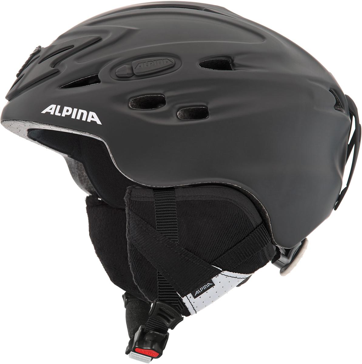 Шлем горнолыжный Alpina Scara, цвет: черный. A9017_69. Размер 55-59A9017_69Шлем горнолыжный Alpina Scara - модель создана специально для тех, кто не хочет идти на компромисс между технологиями и стилем. Исключительно устойчивый и легкий. Благодаря эффективной системы вентиляции между внутренней и внешней оболочкой микроклимат под шлемом всегда прохладный. Вынимаемая внутренняя подкладка шлема, которую можно стирать. Технологии:Inmold Tec – технология соединения внутренней и внешней части шлема при помощи высокой температуры. Данный метод делает соединение исключительно прочным, а сам шлем легким. Такой метод соединения гораздо надежнее и безопаснее обычного склеивания. Ceramic – особая технология производства внешней оболочки шлема. Используются легковесные материалы экстремально прочные и устойчивые к царапинам. Возможно использование при сильном УФ изучении, так же поверхность имеет антистатическое покрытие. Run System – простая система настройки шлема, позволяющая добиться надежной фиксации. Airstream Control – регулируемые воздушные клапана для полного контроля внутренней вентиляции. Removable Earpads - съемные амбушюры добавляют чувства свободы во время катания в теплую погоду, не в ущерб безопасности. При падении температуры, амбушюры легко устанавливаются обратно на шлем. Changeable Interior – съемная внутренняя часть. Допускается стирка в теплой мыльной воде. Neckwarmer – дополнительное утепление шеи. Изготовлено из мягкого флиса.Что взять с собой на горнолыжную прогулку: рассказывают эксперты. Статья OZON Гид