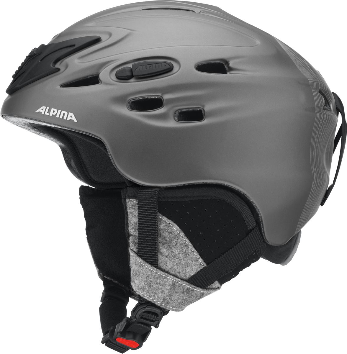 Шлем горнолыжный Alpina Scara, цвет: черный. A9017_46. Размер 52-56A9017_46Шлем горнолыжный Alpina Scara - модель создана специально для тех, кто не хочет идти на компромисс между технологиями и стилем. Исключительно устойчивый и легкий. Благодаря эффективной системы вентиляции между внутренней и внешней оболочкой микроклимат под шлемом всегда прохладный. Вынимаемая внутренняя подкладка шлема, которую можно стирать.Технологии: Inmold Tec – технология соединения внутренней и внешней части шлема при помощи высокой температуры. Данный метод делает соединение исключительно прочным, а сам шлем легким. Такой метод соединения гораздо надежнее и безопаснее обычного склеивания.Ceramic – особая технология производства внешней оболочки шлема. Используются легковесные материалы экстремально прочные и устойчивые к царапинам. Возможно использование при сильном УФ изучении, так же поверхность имеет антистатическое покрытие.Run System – простая система настройки шлема, позволяющая добиться надежной фиксации.Airstream Control – регулируемые воздушные клапана для полного контроля внутренней вентиляции.Removable Earpads - съемные амбушюры добавляют чувства свободы во время катания в теплую погоду, не в ущерб безопасности. При падении температуры, амбушюры легко устанавливаются обратно на шлем.Changeable Interior – съемная внутренняя часть. Допускается стирка в теплой мыльной воде.Neckwarmer – дополнительное утепление шеи. Изготовлено из мягкого флиса.