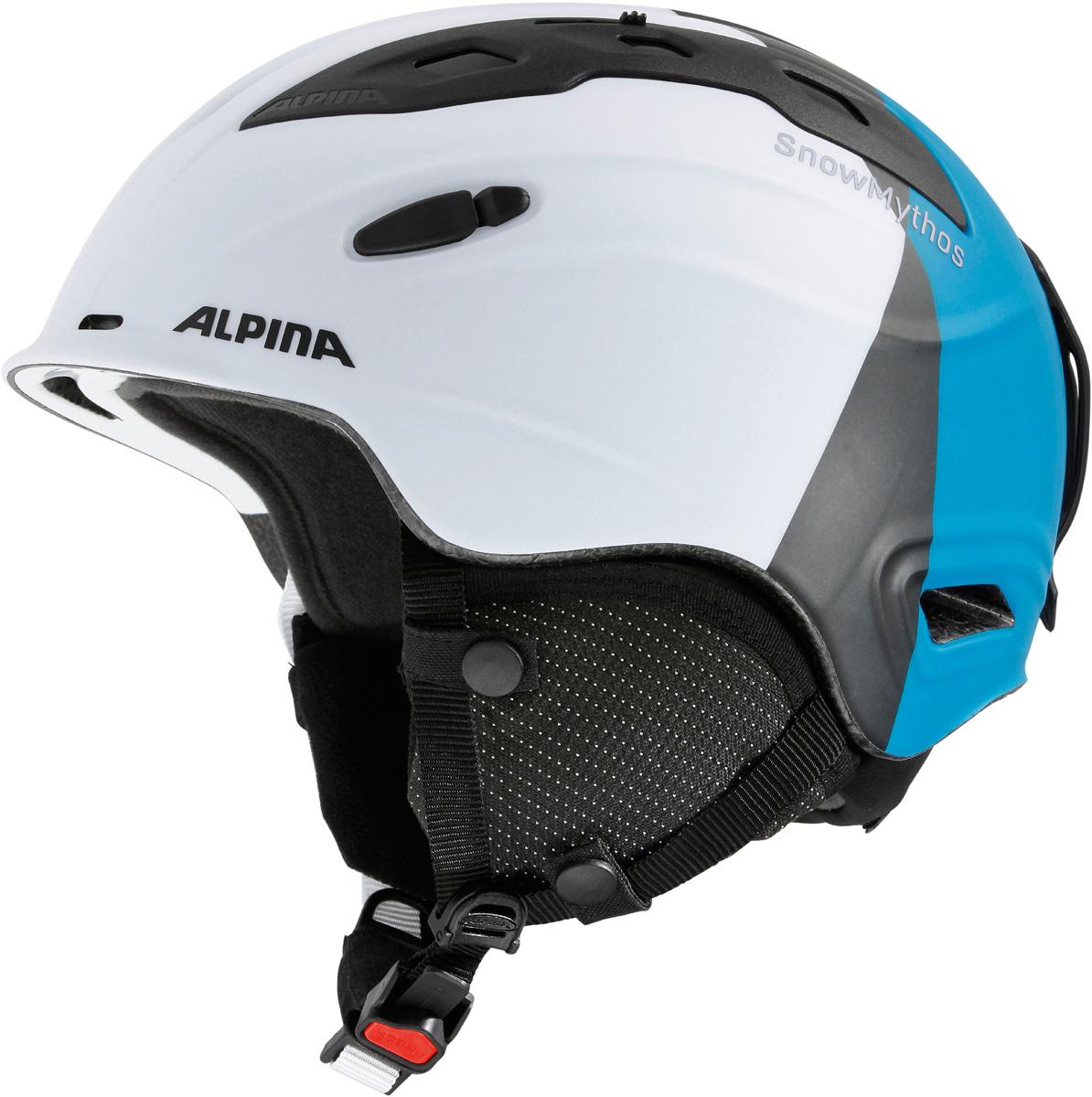 Шлем горнолыжный Alpina SNOW MYTHOS white-silver-blue matt. Размер 58-61A9062_16Экстремально легкая модель с прекрасными защитными свойствами. Для тех, ищет недорогую модель с клеймом «Сделано в Германии». Размеры: 52-62 см. Технологии:INMOLD TEC – технология соединения внутренней и внешней части шлема при помощи высокой температуры. Данный метод делает соединение исключительно прочным, а сам шлем легким. Такой метод соединения гораздо надежнее и безопаснее обычного склеивания.CERAMIC – особая технология производства внешней оболочки шлема. Используются легковесные материалы экстремально прочные и устойчивые к царапинам. Возможно использование при сильном УФ изучении, так же поверхность имеет антистатическое покрытие.RUN SYSTEM – простая система настройки шлема, позволяющая добиться надежной фиксации.AIRSTREAM CONTROL – регулируемые воздушные клапана для полного контроля внутренней вентиляции. REMOVABLE EARPADS - съемные амбушюры добавляют чувства свободы во время катания в теплую погоду, не в ущерб безопасности. При падении температуры, амбушюры легко устанавливаются обратно на шлем.CHANGEABLE INTERIOR – съемная внутренняя часть. Допускается стирка в теплой мыльной воде.NECKWARMER – дополнительное утепление шеи. Изготовлено из мягкого флиса. 3D FIT – ремень, позволяющий регулироваться затылочную часть шлема. Пять позиций позволят настроить идеальную посадку.