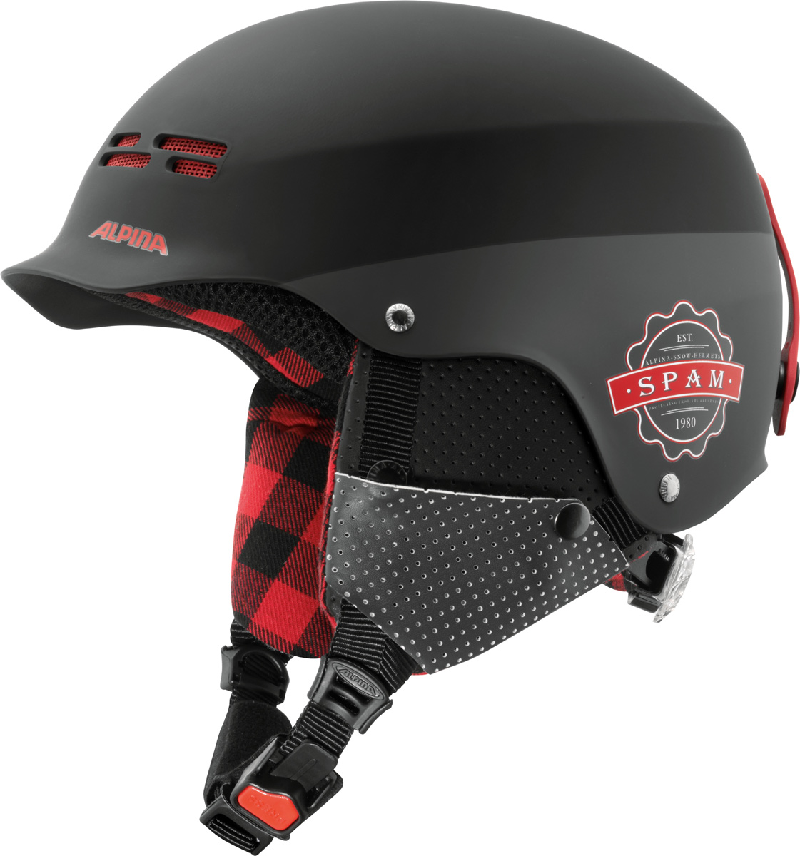 Шлем горнолыжный Alpina Spam Cap, цвет: черный. A9033_29. Размер 54-57A9033_29Ультрастильный шлем для бесстрашных. Яркие цвета и стильный дизайн отлично смотреться в парке или в пайпе. - Шлем имеет максимально надежную и долговечную Hardshell конструкцию - предварительно отлитая оболочка из ударопрочного пластика ABS прочно соединена с внутренней оболочкой из вспененного полистирола. - Вентиляционные отверстия препятствуют перегреву и позволяют поддерживать идеальную температуру внутри шлема. Для этого инженеры Alpina используют эффект Вентури, чтобы сделать циркуляцию воздуха постоянной и максимально эффективной. - Съемные ушки-амбушюры можно снять за секунду и сложить в карман лыжной куртки. Если вы наслаждаетесь катанием в начале апреля, такая возможность должна вас порадовать. А когда температура снова упадет - щелк и вкладыш снова на месте. - Внутренняя оболочка каждого шлема Alpina состоит из гранул HI-EPS (сильно вспененного полистирола). Микроскопические воздушные карманы эффективно поглощают ударную нагрузку и обеспечивают высокую теплоизоляцию. Эта технология позволяет достичь минимальной толщины оболочки. А так как гранулы HI-EPS не впитывают влагу, их защитный эффект не ослабевает со временем. - Ручка регулировки Run System Classic в задней части шлема позволяет за мгновение комфортно усадить шлем на затылке. - Y-образный ремнераспределитель двух ремешков находится под ухом и обеспечивает быструю и точную посадку шлема на голове. - Вместо фастекса на ремешке используется красная кнопка с автоматическим запирающим механизмом, которую легко использовать даже в лыжных перчатках. Механизм защищен от произвольного раскрытия при падении.Что взять с собой на горнолыжную прогулку: рассказывают эксперты. Статья OZON Гид