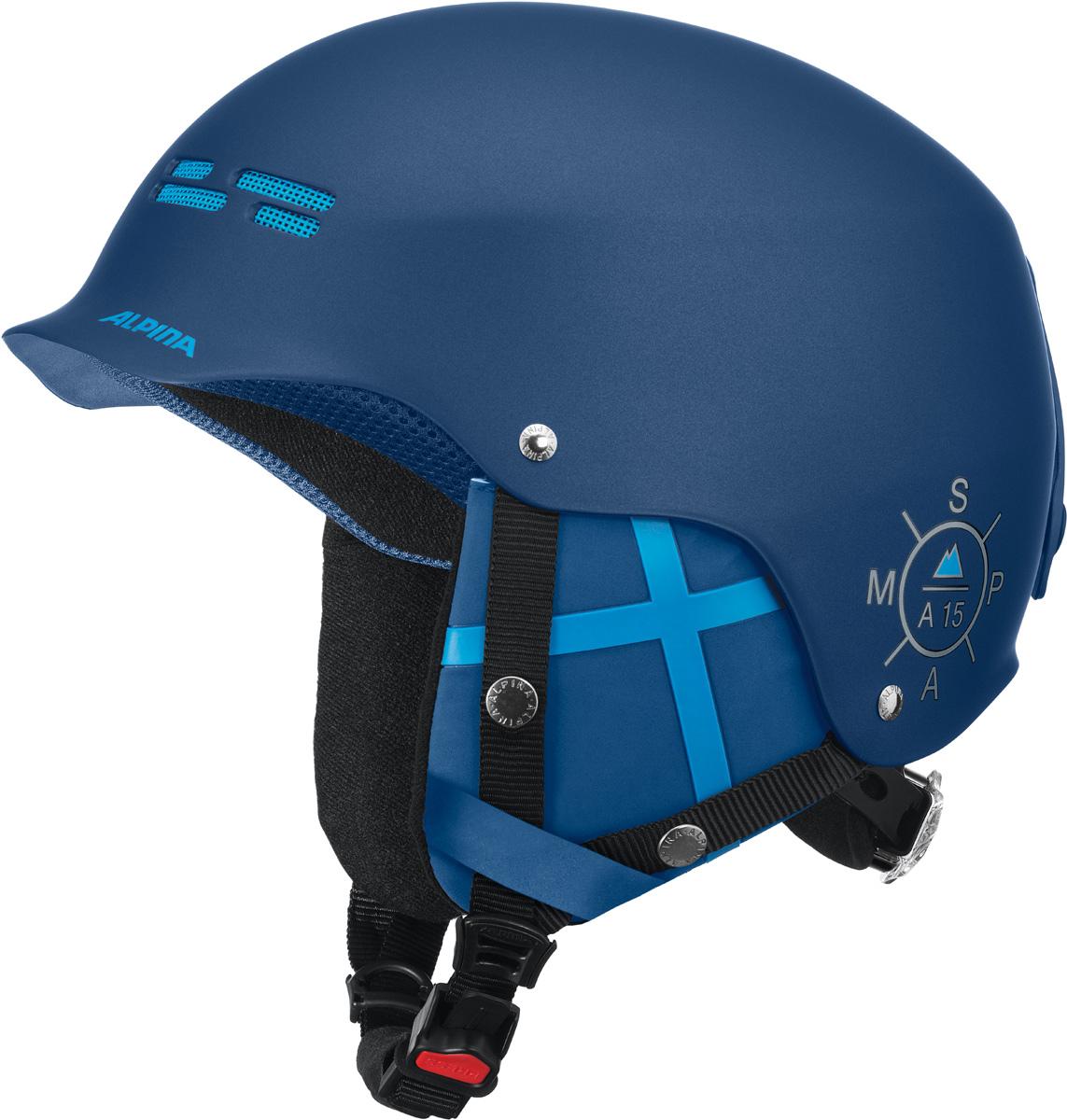 Шлем горнолыжный Alpina SPAM CAP blue-navy matt. Размер 54-57A9033_82Ультрастильный шлем для бесстрашных. Яркие цвета и стильный дизайн отлично смотреться в парке или в пайпе.• Шлем имеет максимально надёжную и долговечную Hardshell конструкцию - предварительно отлитая оболочка из ударопрочного пластика ABS прочно соединена с внутренней оболочкой из вспененного полистирола• Вентиляционные отверстия препятствуют перегреву и позволяют поддерживать идеальную температуру внутри шлема. Для этого инженеры Alpina используют эффект Вентури, чтобы сделать циркуляцию воздуха постоянной и максимально эффективной• Съемные ушки-амбушюры можно снять за секунду и сложить в карман лыжной куртки. Если вы наслаждаетесь катанием в начале апреля, такая возможность должна вас порадовать. А когда температура снова упадет - щелк и вкладыш снова на месте!• Внутренная оболочка каждого шлема Alpina состоит из гранул HI-EPS (сильно вспененного полистирола). Микроскопические воздушные карманы эффективно поглощают ударную нагрузку и обеспечивают высокую теплоизоляцию. Эта технология позволяет достичь минимальной толщины оболочки. А так как гранулы HI-EPS не впитывают влагу, их защитный эффект не ослабевает со временем.• Ручка регулировки Run System Classic в задней части шлема позволяет за мгновение комфортно усадить шлем на затылке• Y-образный ремнераспределитель двух ремешков находится под ухом и обеспечивает быструю и точную посадку шлема на голове• Вместо фастекса на ремешке используется красная кнопка с автоматическим запирающим механизмом, которую легко использовать даже в лыжных перчатках. Механизм защищён от произвольного раскрытия при падении.