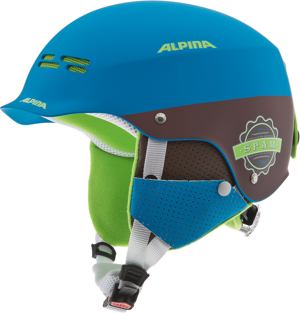 Шлем горнолыжный детский Alpina Spam Cap JR, цвет: синий, коричневый. A9064_83. Размер 50-54 бензопила alpina серия black a 4500 18