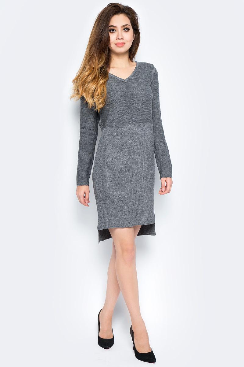 Платье женское Baon, цвет: серый. B457566_Zircon Melange. Размер L (48) платье baon цвет серый b457530 silver melange размер l 48