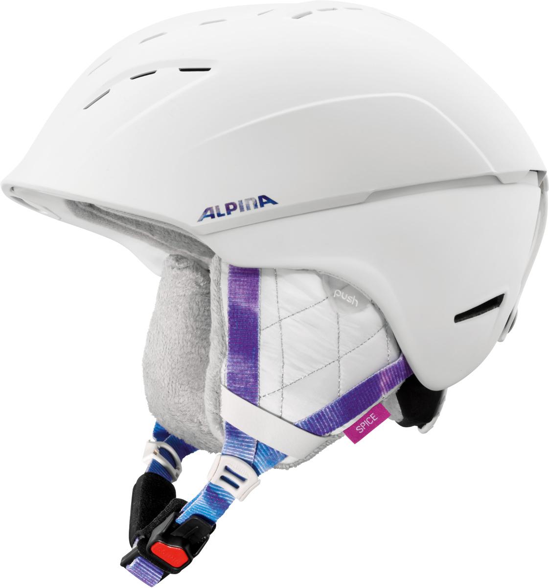 Шлем горнолыжный Alpina SPICE white-periwinkle matt. Размер 55-59A9067_14Благодаря применяемым технологиям, этот шлем исключительно удобен при ношении и имеет отличную вентиляцию. Размеры: 52-61 см. Технологии:Hybrid - Нижняя часть шлема состоит из легкого Inmold, что обеспечивает хорошую амортизацию. Верхняя часть - супер-прочный Hardshell.EDGE PROTECT – усиленная нижняя часть шлема, выполненная по технологии Inmold. Дополнительная защита при боковых ударах. RUN SYSTEM – простая система настройки шлема, позволяющая добиться надежной фиксации.AIRSTREAM CONTROL – регулируемые воздушные клапана для полного контроля внутренней вентиляции. REMOVABLE EARPADS - съемные амбушюры добавляют чувства свободы во время катания в теплую погоду, не в ущерб безопасности. При падении температуры, амбушюры легко устанавливаются обратно на шлем.CHANGEABLE INTERIOR – съемная внутренняя часть. Допускается стирка в теплой мыльной воде.NECKWARMER – дополнительное утепление шеи. Изготовлено из мягкого флиса.3D FIT – ремень, позволяющий регулироваться затылочную часть шлема. Пять позиций позволят настроить идеальную посадку.