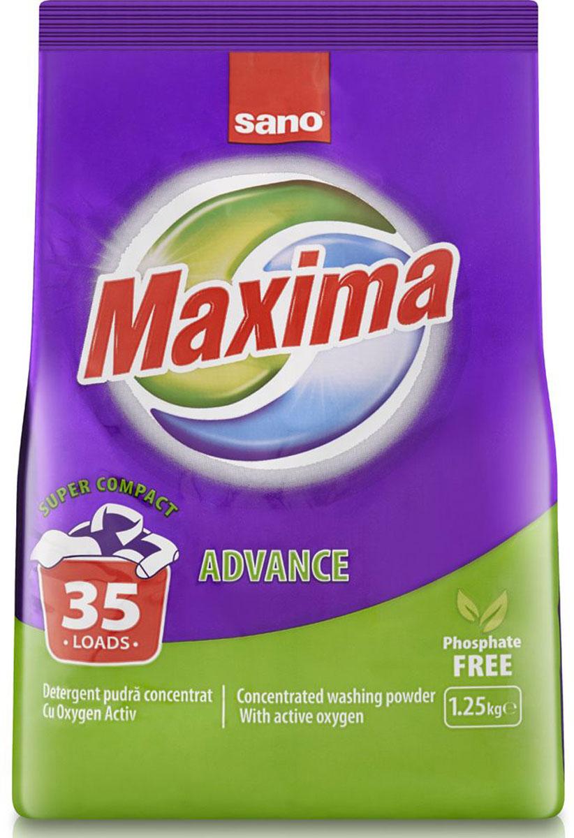 Порошок стиральный Sano Maxima Advance, концентрат, 1,25 кг600056Концентрированный стиральный порошок Sano Maxima Advance предназначен для стирки хлопчатобумажных, льняных и синтетических тканей. С активным кислородом для удаления пятен. Без фосфатов. Обладает гигиеническими свойствами. Удаляет пятна от кофе, чая, вина, ягод, соусов. Подходит для стирки во всех типах стиральных машин.Состав: менее 30%: фосфаты, 5-15%: поверхностно-активные вещества анионы и нонионы, кислородные окислители, менее 5%: мыло, энзимы (БИО), ароматизатор (Hexyl Cinamal).Товар сертифицирован.