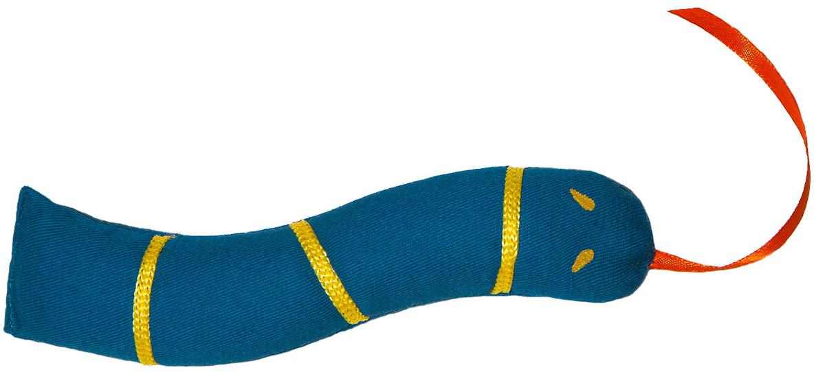 Игрушка для кошек Smart Textile Змейка полосатая, цвет: синий, 18 см игрушки для животных smart textile игрушка для кошек сахарная косточка 100