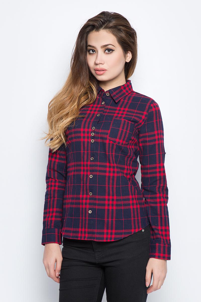 Рубашка женская Bello Belicci, цвет: темно-красный. SA14_40. Размер M (44)SA14_40Рубашка женская Bello Belicci выполнена из натурального хлопка. Модель с отложным воротником и длинными рукавами застегивается на пуговицы.