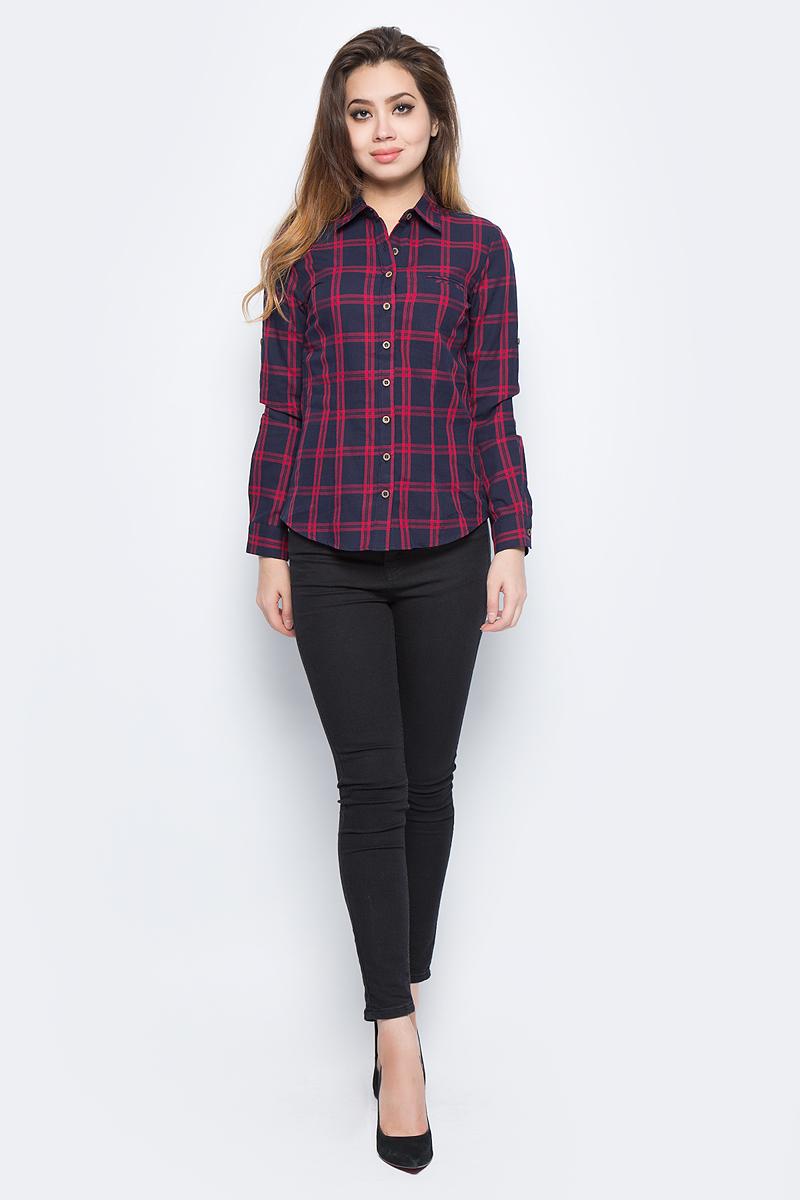 Рубашка женская Bello Belicci, цвет: темно-синий. SA12_9. Размер M (44)SA12_9Рубашка женская Bello Belicci выполнена из натурального хлопка. Модель с отложным воротником и длинными рукавами.
