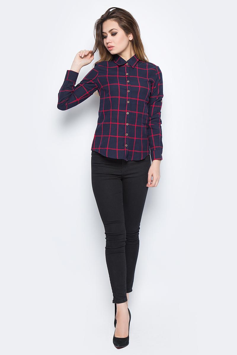 Рубашка женская Bello Belicci, цвет: темно-синий. SA1_9. Размер S (42)SA1_9Рубашка женская Bello Belicci выполнена из натурального хлопка. Модель с отложным воротником и длинными рукавами застегивается на пуговицы.