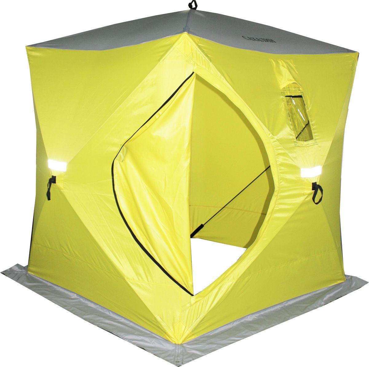 Палатка зимняя Prival Сахалин, 4-местная, цвет: желтый, серый, 180 х 180 х 200 см54257Палатка зимняя Prival Сахалин предназначена для зимней рыбалки. Размер: 180 х 180 х 200 смМатериал: Oxford 210D PU 2000 mmПрозрачное полиуретановое покрытие!Каркас: Fiberglass, o 9,5 ммОкна: 2 окна, морозостойкие, отстегиваются на липучкеВентиляция: 2 вентиляционных окнаСветоотражающие элементы: есть, с каждой стороны.Вход: одинЮбка: 25 см, 4 люверсаВвертыши: 8 шт в чехлеКармашки: 2 штВес: 7,4 кгЧто взять с собой в поход?. Статья OZON Гид