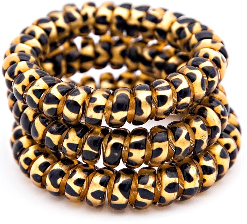 Beautypedia Резинки для волос, цвет: золотистый, леопард