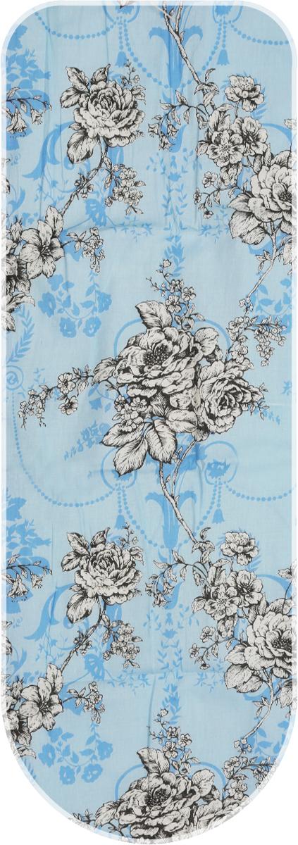 Чехол для гладильной доски Eva Изящный узор, цвет: голубой, черный, белый, 125 х 47 смЕ13_голубой, черный, белыйХлопчатобумажный чехол Eva Изящный узор с поролоновым слоем продлит срок службы вашей гладильной доски. Чехол снабжен стягивающим шнуром, при помощи которого вы легко отрегулируете оптимальное натяжение чехла и зафиксируете его на рабочей поверхности гладильной доски.Размер чехла: 119 х 37 см. Максимальный размер доски: 112 х 32 см.