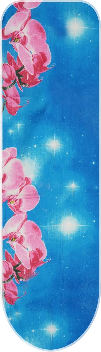 Чехол для гладильной доски Eva, с поролоном, цвет: голубой, розовый, 120 х 38 смЕ13*_голубой, розовые орхидеиХлопчатобумажный чехол Eva с поролоновым слоем продлитсрок службы вашей гладильной доски. Чехол снабжен стягивающим шнуром, припомощи которого вы легко отрегулируете оптимальное натяжение чехла изафиксируете его на рабочей поверхности гладильной доски.Размер чехла: 120 х 38 см.Максимальный размер доски: 112 х 32 см.