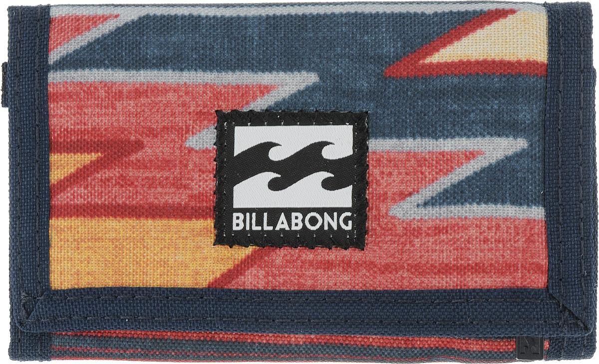 Кошелек Billabong  Atom Wallet , цвет: темно-синий, красный, желтый. F5WL01 - Несессеры и кошельки