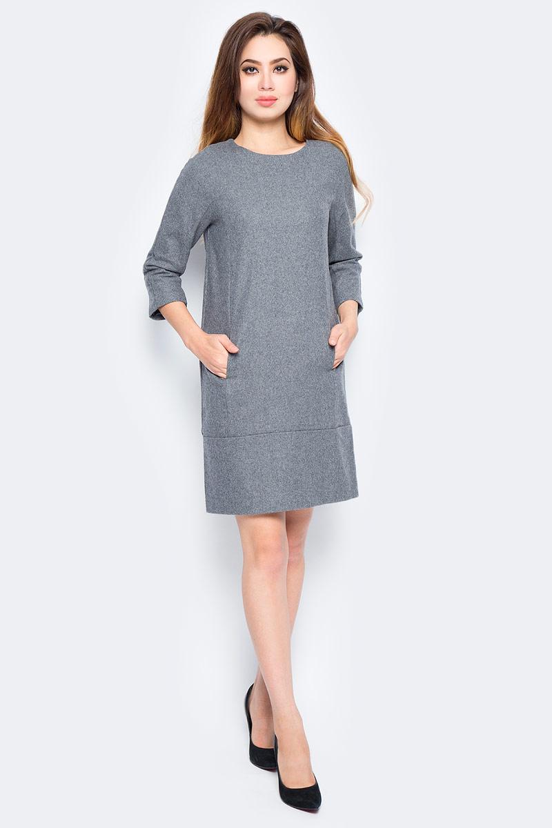Платье женское Baon, цвет: серый. B457536_Zircon Melange. Размер L (48)B457536_Zircon MelangeМодное платье Baon станет отличным дополнением к вашему гардеробу. Модель выполнена из качественного полиэстера с добавлением шерсти. Платье А-силуэта с круглым вырезом горловины и рукавами 3/4 застегивается по спинке на потайную застежку-молнию. Изделие спереди дополнено прорезными кармашками.