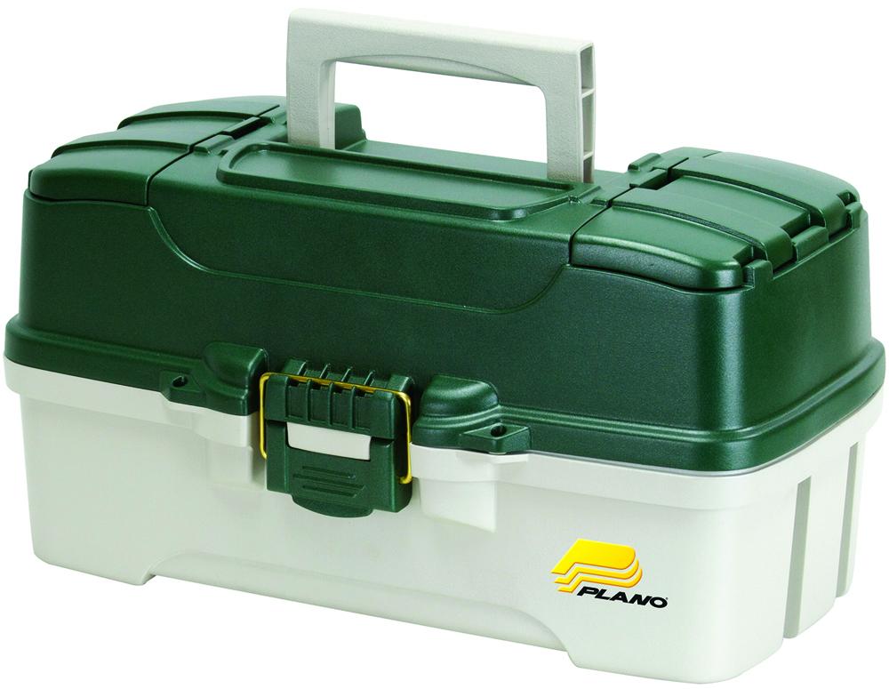 Ящик рыболовный Plano, с 3-х уровневой системой хранения приманок и 2 боковыми отсеками на крышке, цвет: зеленый, белый