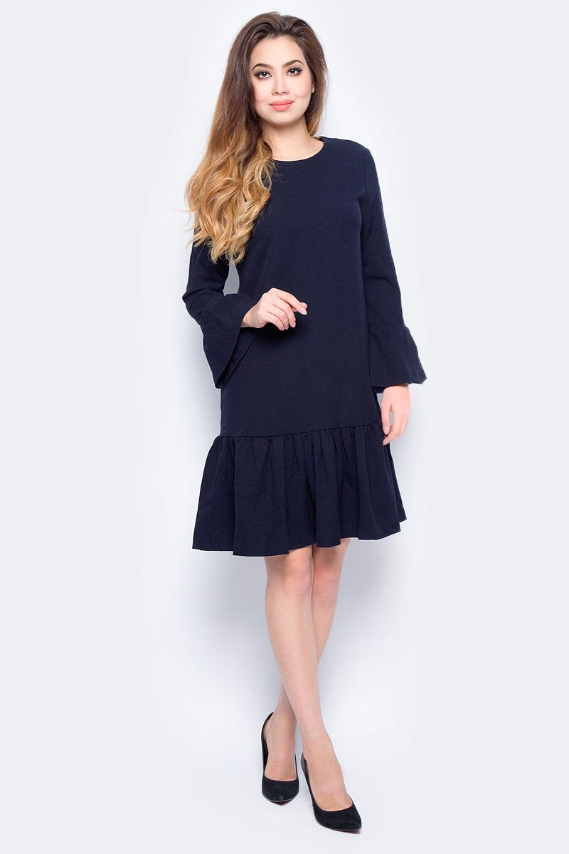 Платье женское Baon, цвет: синий. B457547_Dark Navy. Размер L (48)B457547_Dark NavyСтильное платье Baon выполнено из смесового материала. Модель миди-длины с круглым вырезом горловины и длинными рукавами. На спинке изделие застегивается на потайную молнию. Рукава оформлены широкими воланами.