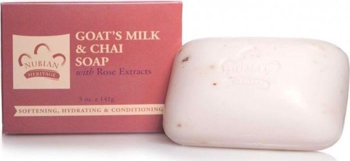 Nubian Heritage Мыло козье молоко и масала чай с экстрактом розовых лепестков, 141 гN10Смягчающее мыло с добавлением меда, козьего молока и розового экстракта.