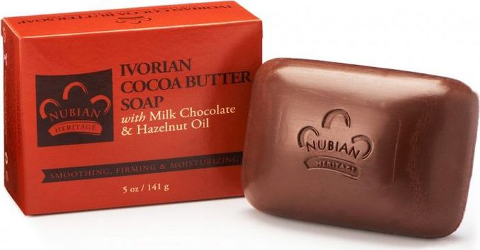 Nubian Heritage Мыло с маслом иворианского какао с добавлением масел молочного шоколада и лесного ореха, 141 гN12Увлажняющее мыло с эффектом мягкого отшелушивания и омолаживания.