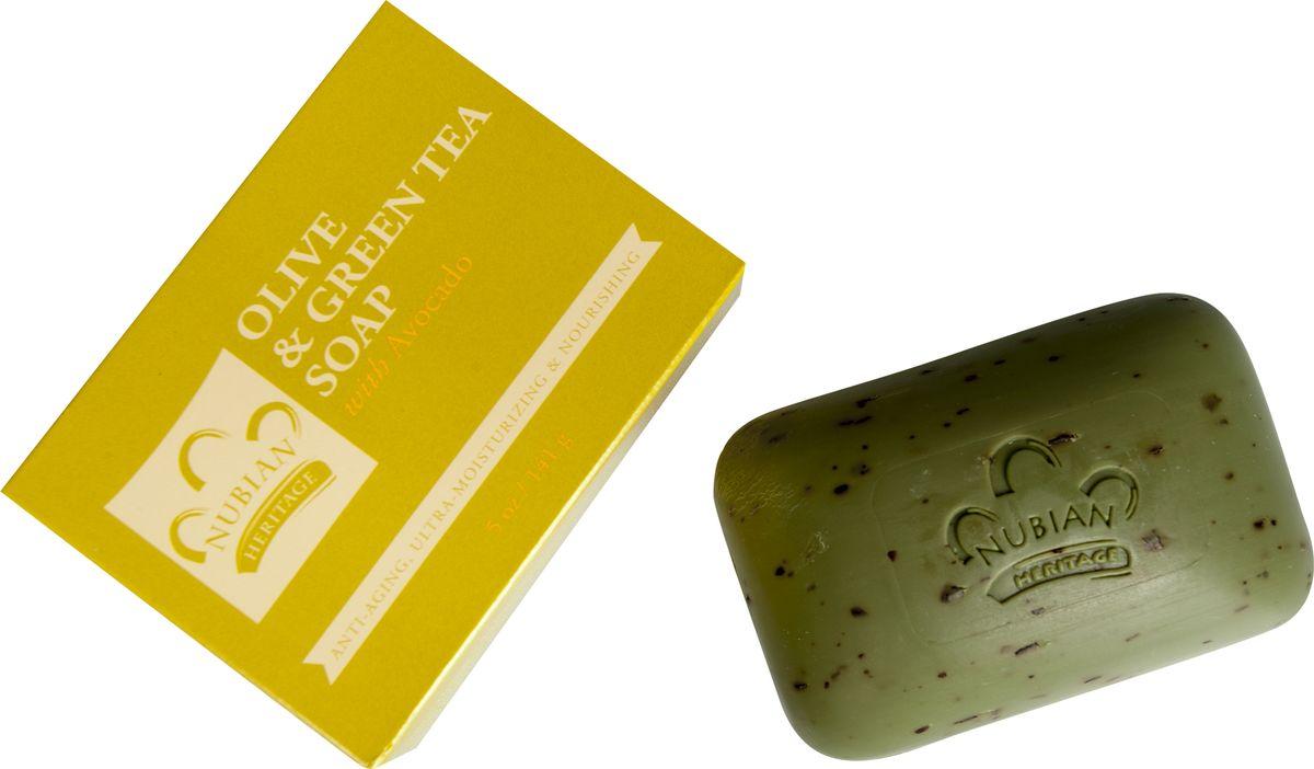 Nubian Heritage Мыло оливковое с экстрактом зеленого чая и авокадо, 141 гN3Органические масла помогают восстановить влагу и поддержать естественную способность кожи к защите от вредных свободных радикалов, а листья зеленого чая мягко отшелушивают, оставляя кожу мягкой и гладкой.