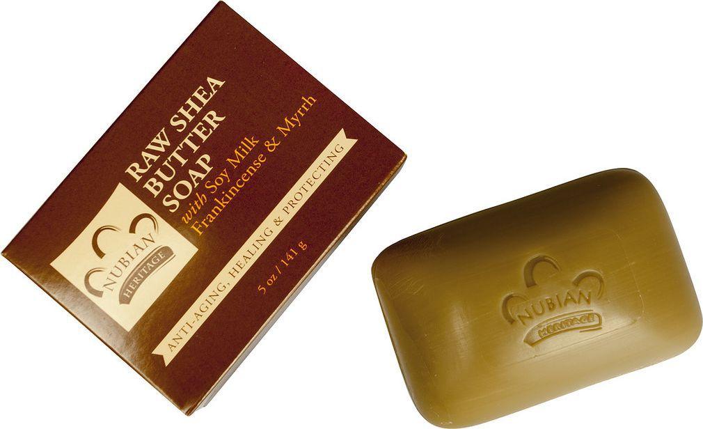 Nubian Heritage Мыло натуральное с маслом ши, с добавлением соевого молока, ладана и мирры, 141 гN7Нежное мыло с эфирными маслами ладана, мирры и кардамона дарит коже мягкость и увлажнение, а имбирь и черный перец создают незабываемый аромат.