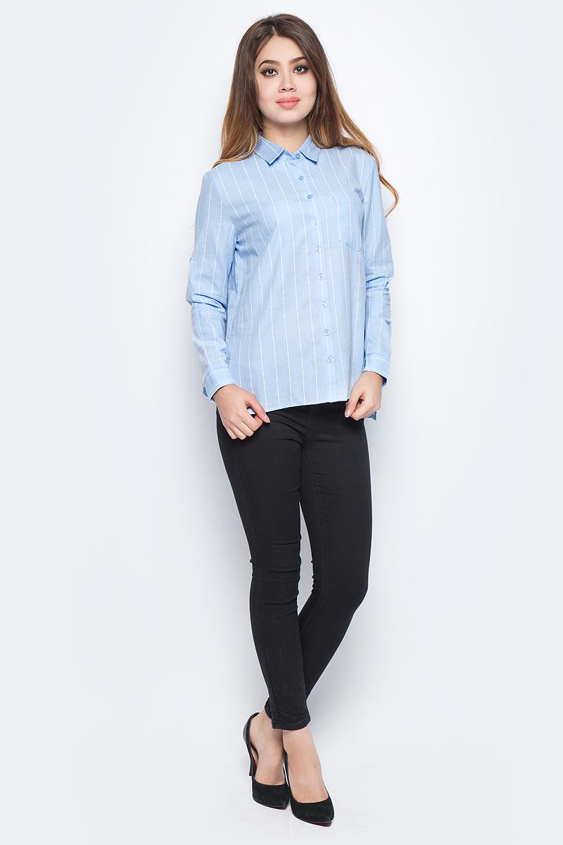 Рубашка женская Bello Belicci, цвет: голубой. SA7_21. Размер XL (48)SA7_21Рубашка женская Bello Belicci выполнена из натурального хлопка. Модель с отложным воротником и длинными рукавами застегивается на пуговицы.