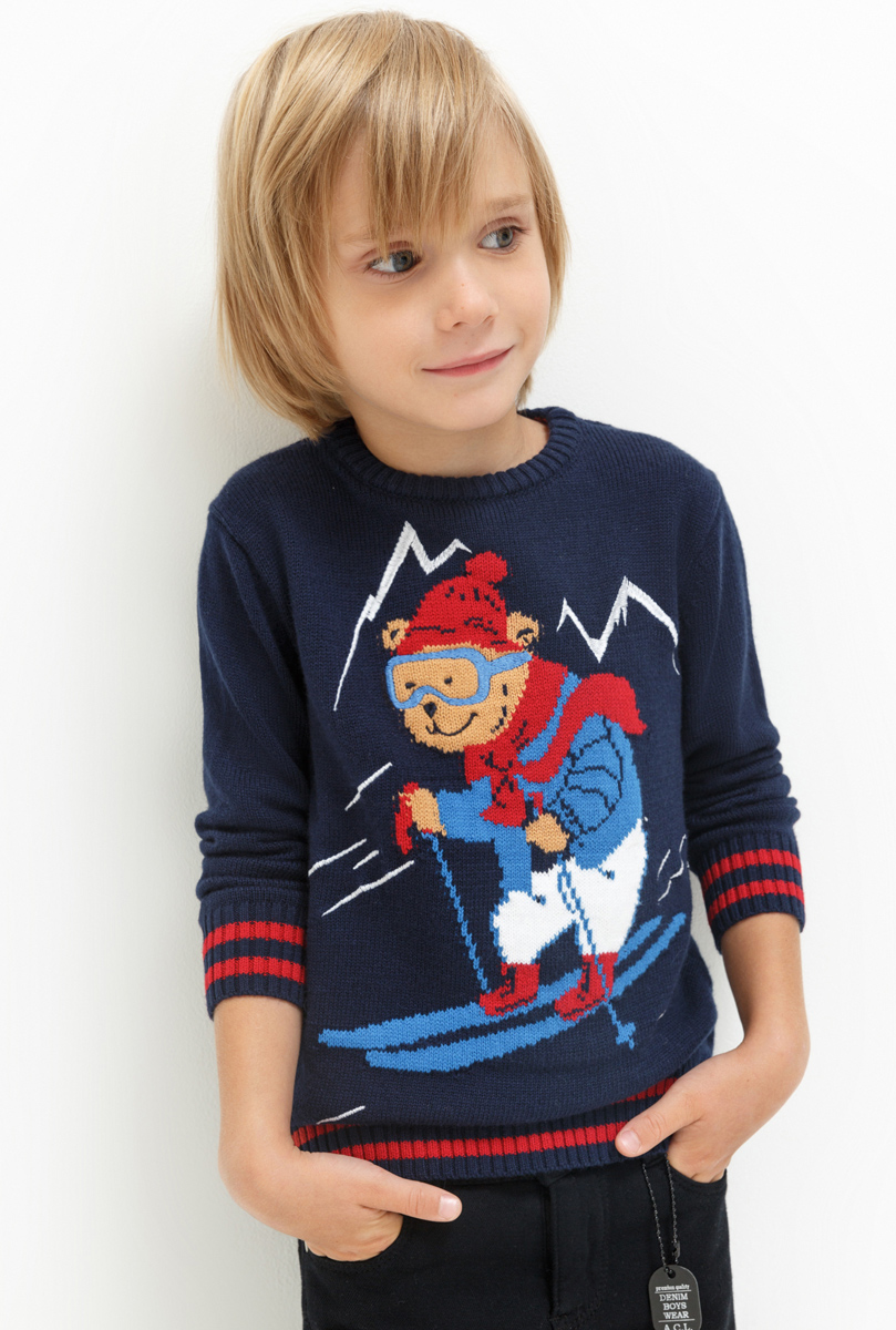 Джемпер для мальчика Acoola Picasso, цвет: темно-синий. 20120310044. Размер 12220120310044Джемпер для мальчика Acoola выполнен из высококачественного материала. Модель с круглым вырезом горловины и длинными рукавами.