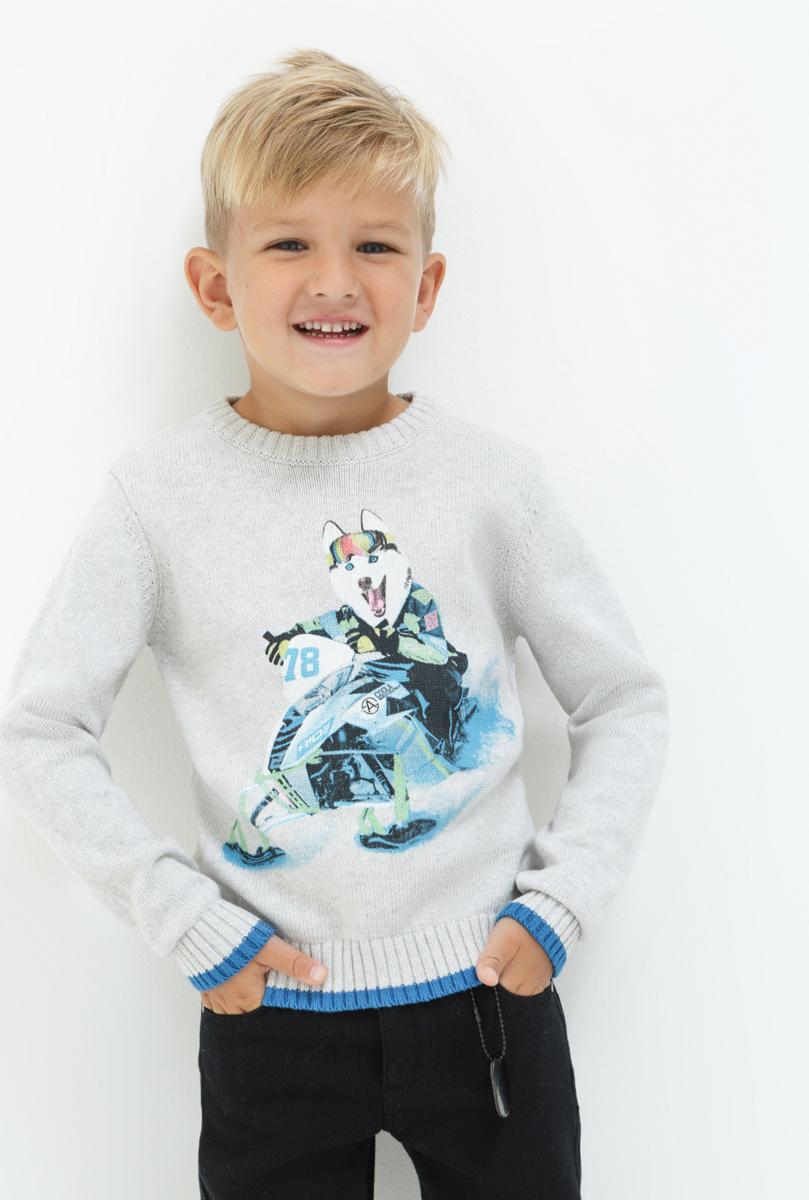 Джемпер для мальчика Acoola Mone, цвет: светло-серый. 20120310048. Размер 9820120310048Джемпер для мальчика Acoola выполнен из натурального хлопка. Модель с круглым вырезом горловины и длинными рукавами.