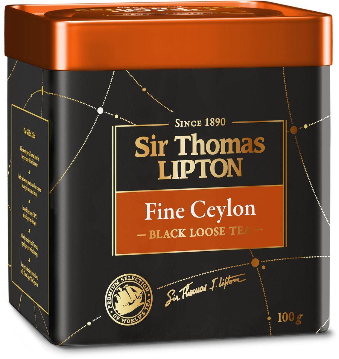 Sir Thomas Lipton Fine Ceylon чай черный листовой, 100 г67270712Sir Thomas Lipton Чай черный листовой Fine Ceylon, 100 гр. Крупнолистовой чай в металлической банке. Насыщенный аромат, золотистый цвет и узнаваемая легкая горечь в послевкусии сделали Цейлон одним из самых известных чайных сортов в мире. Выращенный и отобранный в ручную в высокогорьях Шри-Ланки, чай Sir Thomas Lipton Fine Ceylon обладает особо мягким ароматом и освежающим вкусом с нежными цветочными нотами. Новая коллекция премиального чая Sir Thomas Lipton - это высокое качество чая с лучших плантаций мира (Цейлон, Кения, Индонезия), неповторимый насыщенный и благородный вкус, изысканный и глубокий аромат для истинных ценителей настоящего чая. Неизменность высокого качества гарантирует имя основателя в названии коллекции и его подпись на упаковке - Sir Thomas Lipton.