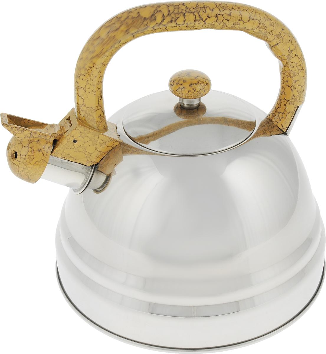 Чайник Bekker Koch со свистком, цвет: бежевый, 3 л. BK-S337BK-S337_бежевыйЧайник Bekker Koch выполнен из высококачественной нержавеющей стали, что обеспечивает долговечность использования. Внешнее зеркальное покрытие придает приятный внешний вид. Пластиковая фиксированная ручка делает использование чайника очень удобным и безопасным. Чайник снабжен свистком и устройством для открывания носика. Изделие оснащено капсулированным дном для лучшего распространения тепла.Можно мыть в посудомоечной машине. Пригоден для всех видов плит кроме индукционных.Высота чайника (без учета крышки и ручки): 13 см.Диаметр основания: 22 см. Толщина стенки: 4 мм.