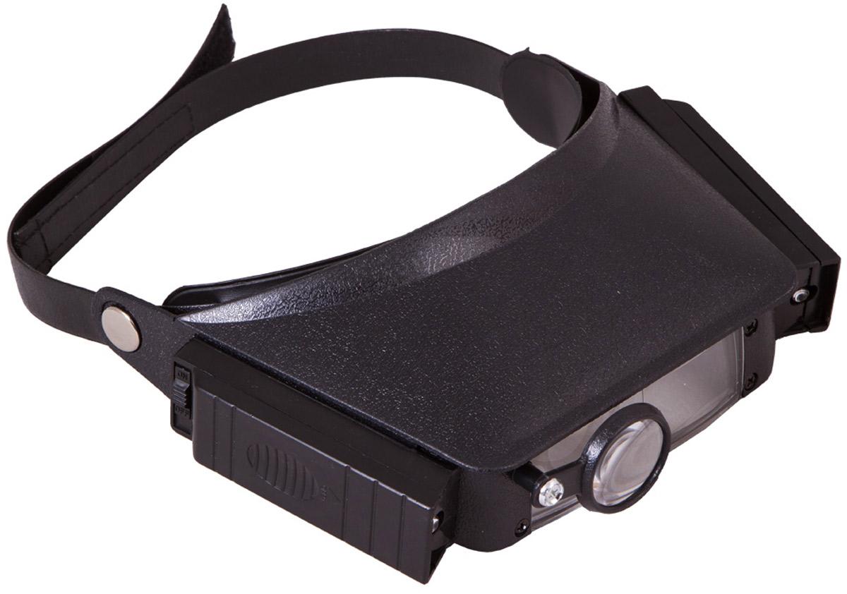 Лупа налобная Levenhuk Zeno Vizor H1 – небольшая портативная лупа с четырьмя шагами увеличения. В комплекте идет дополнительная откидная линза из оптического пластика, а для правого глаза есть отдельная поворотная линза. Диапазон увеличений составляет от 1,5х до 8х.  Лупу можно закрепить на голове при помощи специального гибкого фиксатора с липучкой. Ваши руки будут свободными, и вы сможете выполнять любые работы с мелкими предметами. Для удобства лупа снабжена подсветкой – двумя яркими лампочками, размещенными по бокам от линзы. Интенсивности освещения хватит для работы даже в полностью темном помещении.  Налобную лупу Levenhuk Zeno Vizor H1 можно посоветовать для домашнего использования и для выполнения профессиональных задач. Обработка ювелирных изделий, пайка, часовые работы, рукоделие, чтение и работы с мелкими предметами станут намного удобнее при использовании лупы Levenhuk Zeno Vizor H1.  Диаметр линзы: 87x30 мм (2 шт.). Диаметр дополнительной линзы: 28 мм Увеличение, крат: 1,5/3/6,5/8.  Для работы подсветки требуются 4 батарейки 1,5 V типа ААА (не входят в комплект).