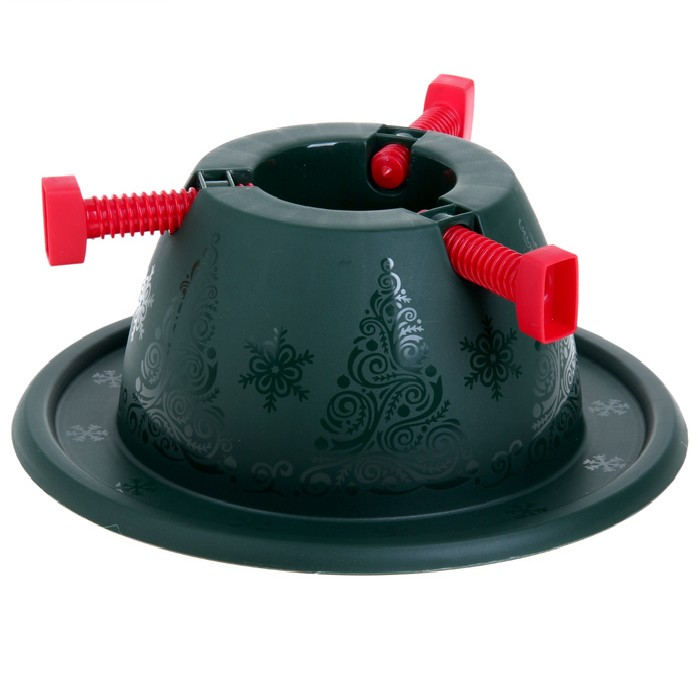 Подставка для елки Martika Невио, диаметр 34 смС505Неизменный атрибут любого новогоднего праздника — пушистая красавица-елка! И если с искусственными деревьями все понятно, в комплекте ветки, ствол и подставка, то с натуральной придется помучиться. Куда ее поставить и как закрепить? У нас есть великолепное решение: подставка для елки от торговой марки Martika. Широкое основание надежно удержит любой вес, а три больших винта помогут основательно закрепить ствол. Пластик глубокого зеленого цвета украшен изящным декором в виде елочек и снежинок.