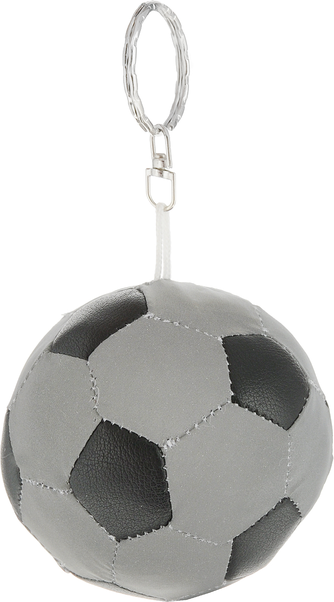 Брелок STG Футбольный мяч, светоотражающий, цвет: серый, черный. RT-007