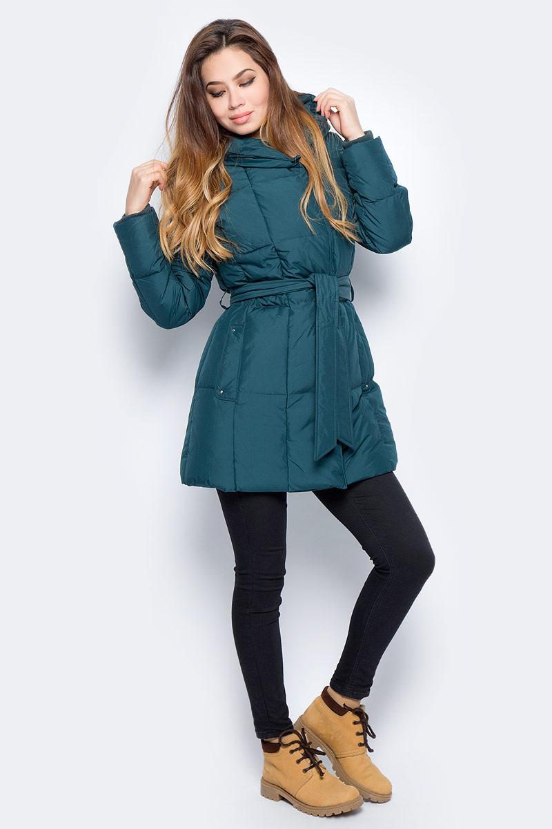 Пуховик женский Baon, цвет: зеленый . B007516_Cold Forest. Размер XL (50) джемпер женский baon цвет серый меланж b166521 размер xl 50
