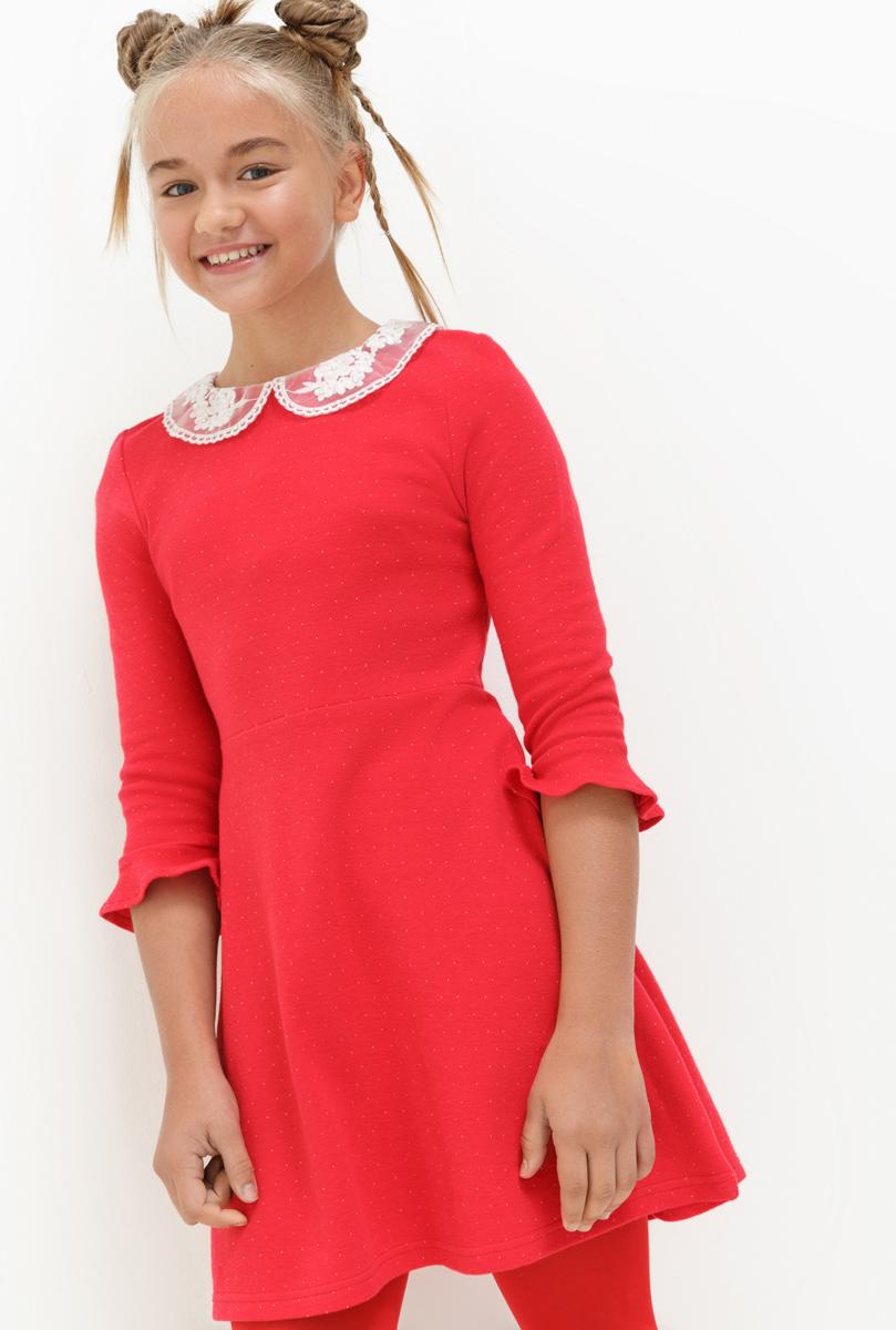 Платье для девочки Acoola Agnes, цвет: красный. 20210200186. Размер 14620210200186Платье для девочки Acoola выполнено из качественного материала. Модель с отложным воротничком контрастного цвета.