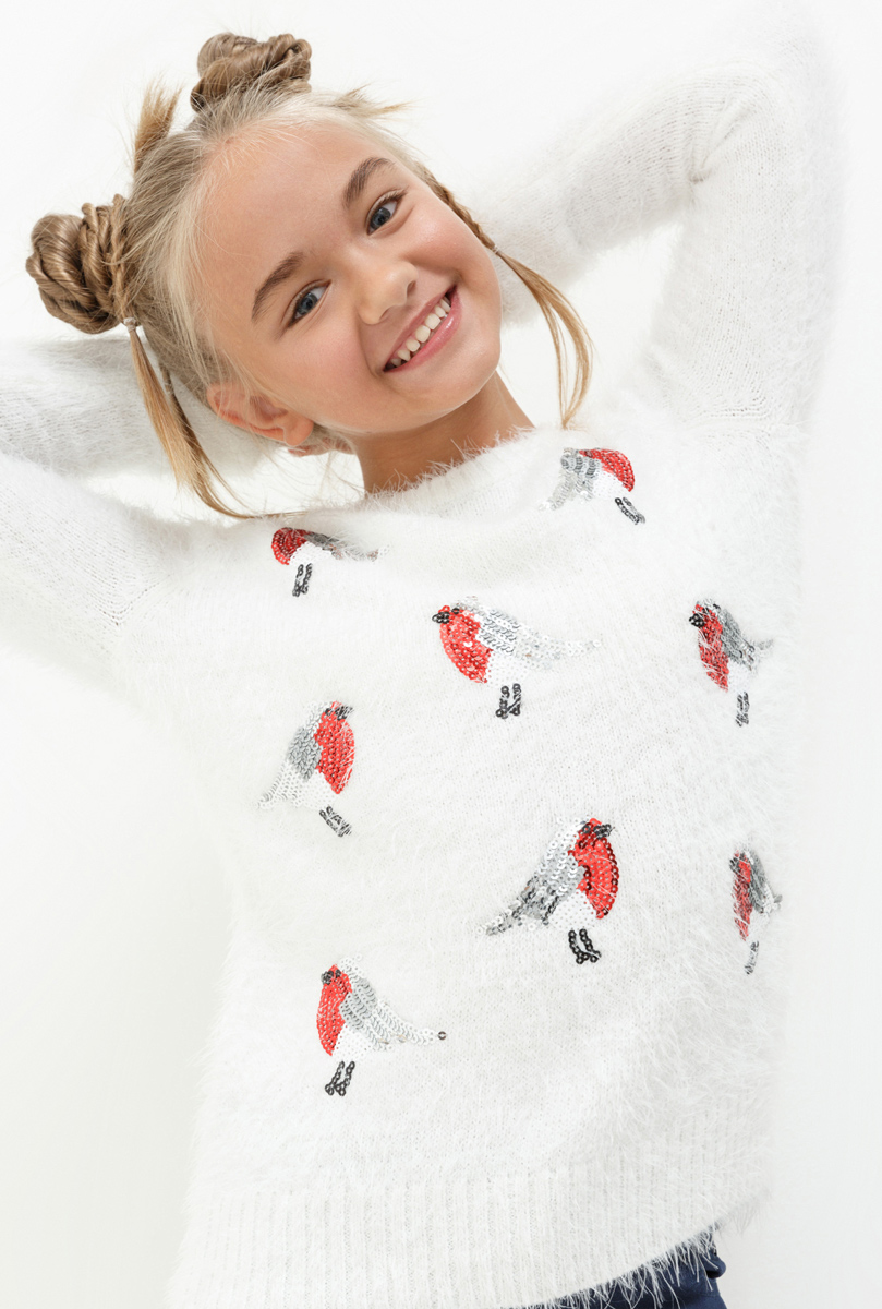 Джемпер для девочки Acoola Denmark, цвет: белый. 20210310054. Размер 14620210310054Джемпер для девочки Acoola выполнен из качественного материала. Модель с круглым вырезом горловины и длинными рукавами.