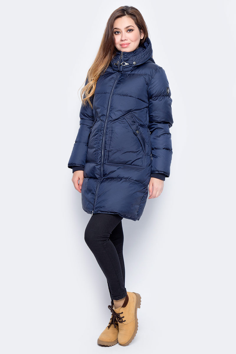 Пуховик женский Baon, цвет: синий. B007554_Dark Navy. Размер XL (50) дутики baon baon ba007awfyi22