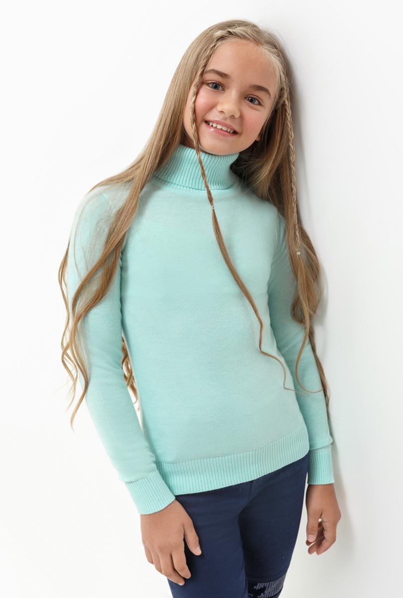 Свитер для девочки Acoola Iceland, цвет: бирюзовый. 20210320023. Размер 15220210320023Свитер для девочки Acoola выполнен из качественного материала. Модель с воротником гольф и длинными рукавами.