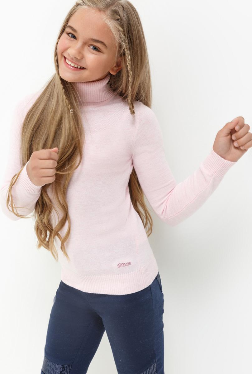 Свитер для девочки Acoola Iceland, цвет: светло-розовый. 20210320023. Размер 14020210320023Свитер для девочки Acoola выполнен из качественного материала. Модель с воротником гольф и длинными рукавами.