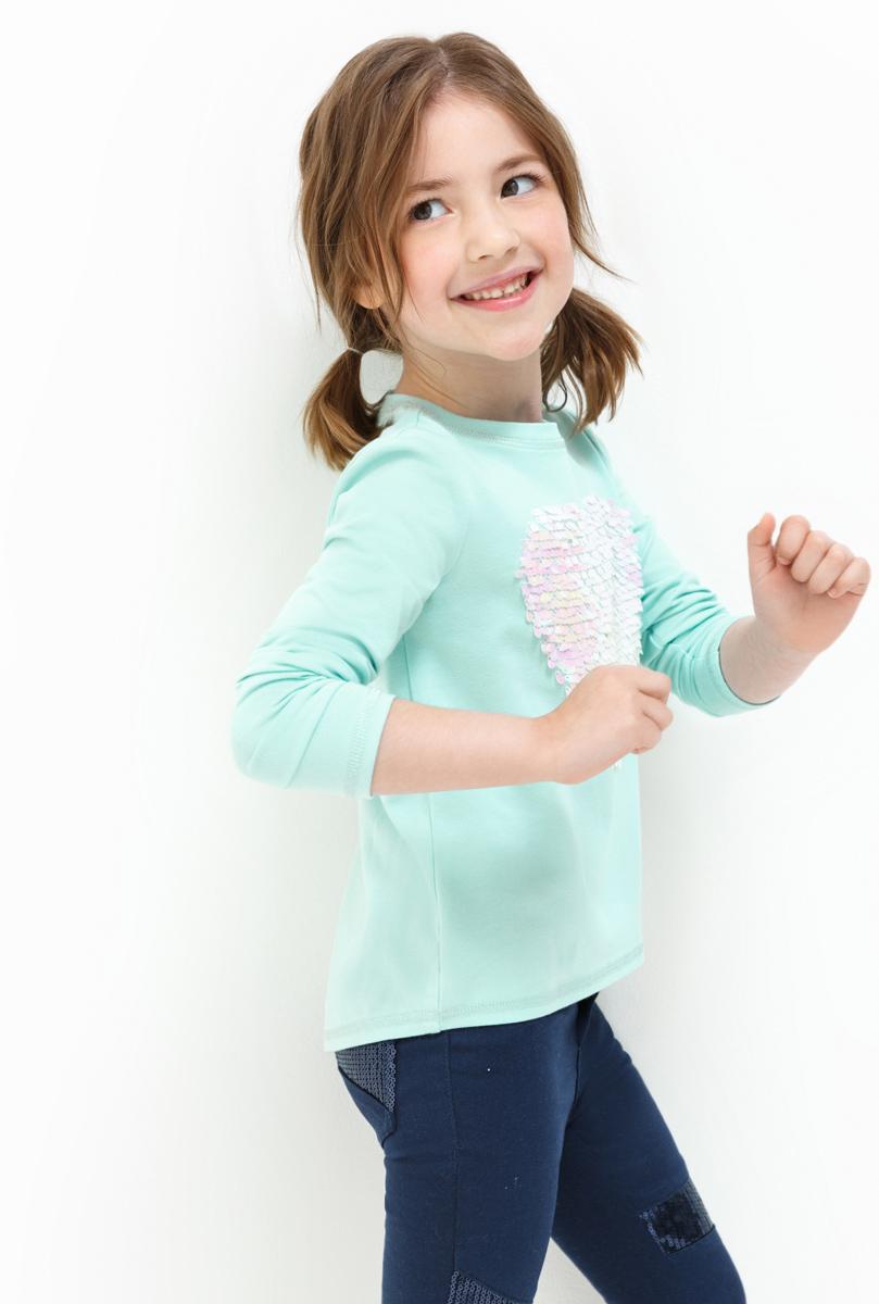 Лонгслив для девочки Acoola Tango, цвет: светло-зеленый. 20220100132. Размер 11020220100132Лонгслив для девочки Acoola выполнен из хлопка и эластана. Модель с круглым вырезом горловины и длинными рукавами.