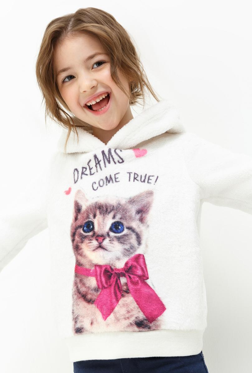 Куртка для девочки Acoola Funk, цвет: бежевый. 20220170047. Размер 9820220170047Толстовка для девочки Acoola выполнена из полиэстера. Модель с капюшоном и длинными рукавами.