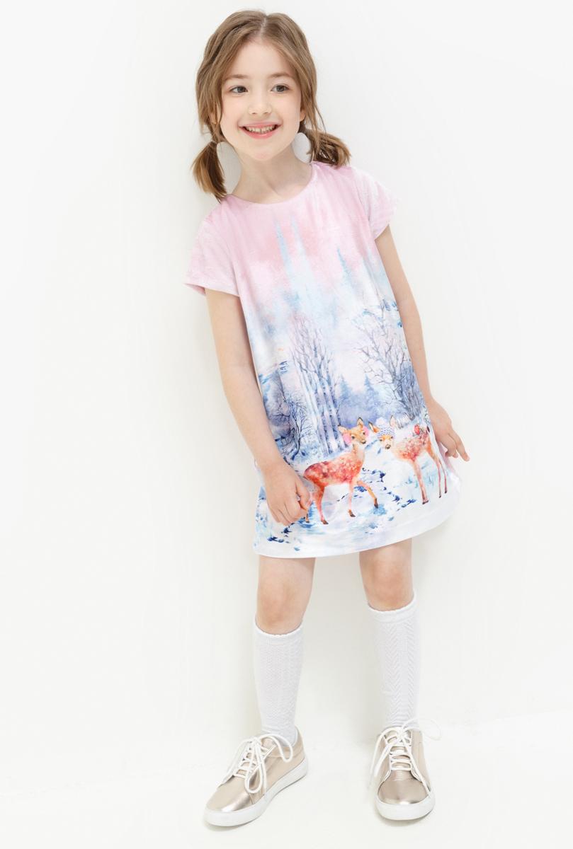 Платье для девочки Acoola Oily, цвет: разноцветный. 20220200201. Размер 11620220200201Платье для девочки Acoola выполнено из качественного материала. Модель с короткими рукавами и круглым вырезом горловины оформлена оригинальным принтом.