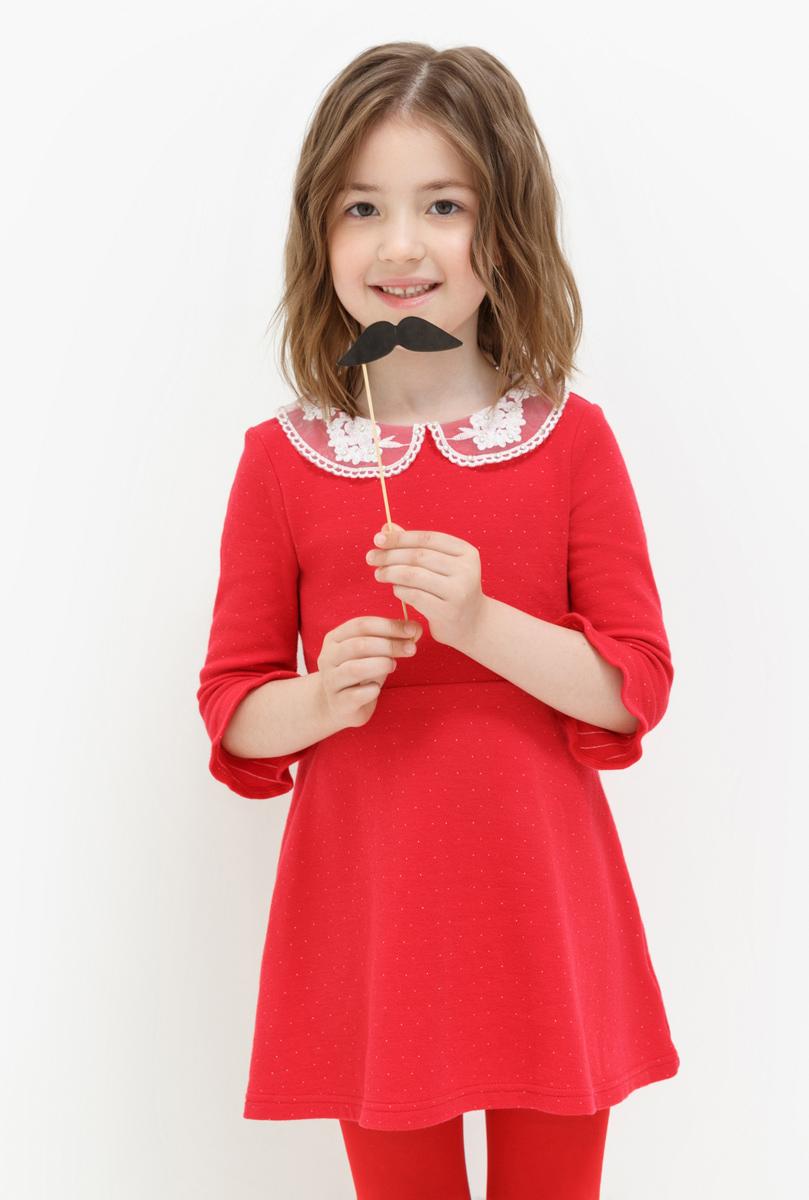 Платье для девочки Acoola Agnes, цвет: красный. 20220200202. Размер 11020220200202Платье для девочки Acoola выполнено из качественного материала. Модель с отложным воротничком контрастного цвета.