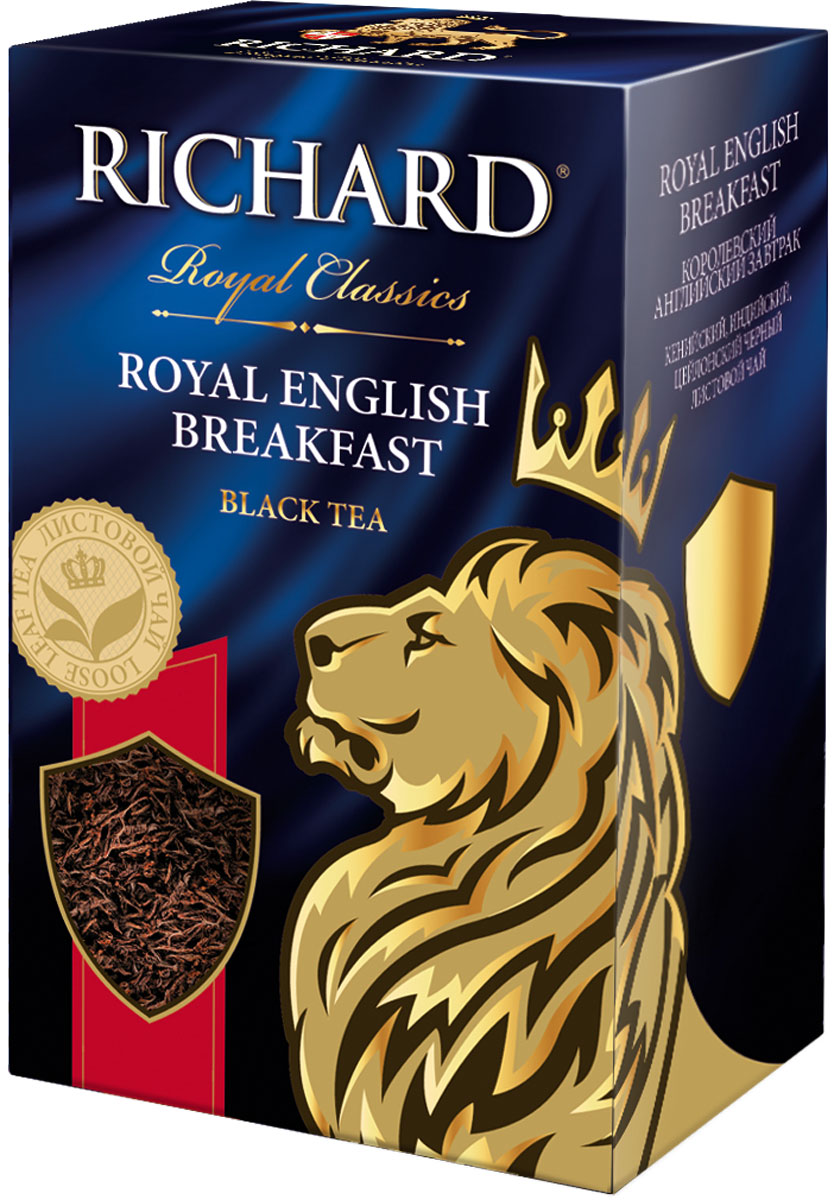 Richard роял инглиш брекфаст чай чёрный крупнолистовой, 90 г100268Купаж из крепких кенийского, индийского и ароматного цейлонского чаев отлично бодрит утром. Рекомендуется пить с молоком.Всё о чае: сорта, факты, советы по выбору и употреблению. Статья OZON Гид