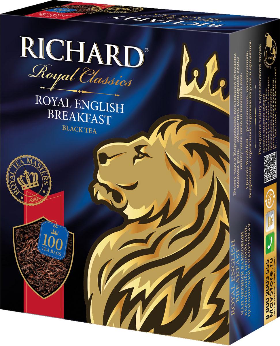 Richard роял инглиш брекфаст чай чёрный в пакетиках, 100 шт100270Купаж из крепких кенийского, индийского и ароматного цейлонского чаев отлично бодрит утром. Рекомендуется пить с молоком.