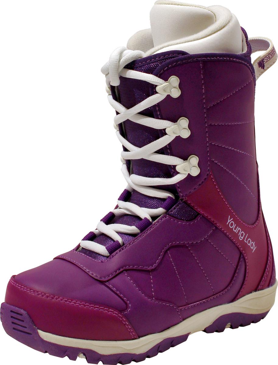 Ботинки для сноуборда для девочки BF snowboards Young Lady, цвет: фиолетовый. Размер 33Young LadyОчень удобный ботинок для самых маленьких сноубордистов. Надежные металлические крючки шнуровки. Двухслойная резиновая подошва обеспечивает хорошее сцепление на снегу и облегчает управление доской. Яркий, привлекательный дизайн и качественные материалы используются в производстве модели ботинок Techno.