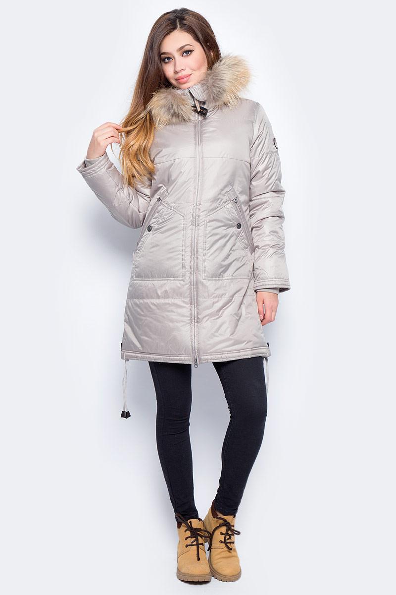 Куртка женская Baon, цвет: бежевый. B037557_Light Cobble. Размер L (48)B037557_Light CobbleЖенская куртка Baon изготовлена из водоотталкивающей и ветрозащитной ткани. В качестве утеплителя используются полиэстер. Удлиненная модель с воротником-стойкой и капюшоном застегивается на застежку-молнию. Спереди расположены два кармана. Капюшон оформлен натуральным мехом енота. По нижнему краю предусмотрена кулиска с завязками по бокам.