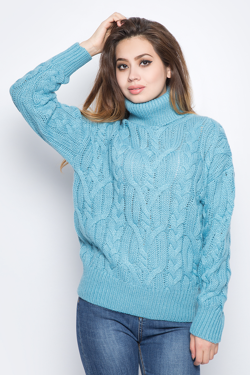 Джемпер женский Baon, цвет: голубой. B137570_Apatite. Размер S (44) baon джемпер с узором и лентами арт baon b135506 белый